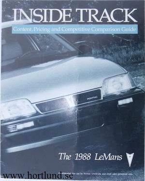 1988 Pontiac Le Mans broschyr Inside Track