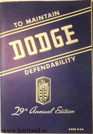 1947 - 1949 Dodge D24 Instruction Book