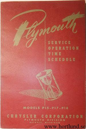 1949 Plymouth Service Operations Time Schedule