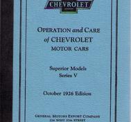 1926 Chevrolet Superior Model Series V Operation and Care