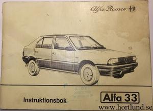 1984 Alfa Romeo Alfa 33 Instruktionsbok svensk