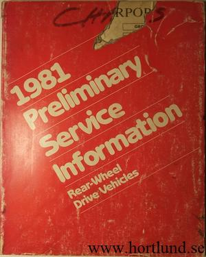 1981 Imperial Chrysler Dodge Plymouth Preliminary Service Information