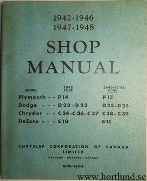 1942 - 1948 Chrysler Plymouth De Soto Dodge Shop Manual