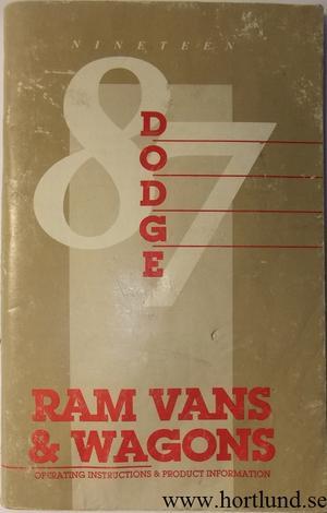 1987 Dodge Ram Vans & Wagons Operating Instructions