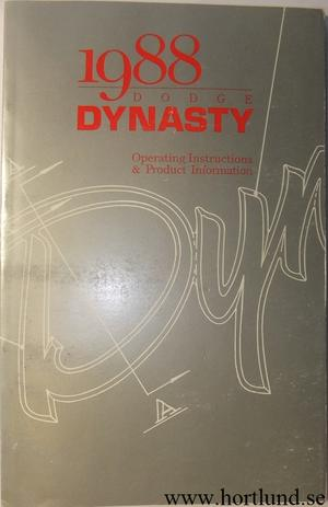 1988 Dodge Dynasty Operating Instructions