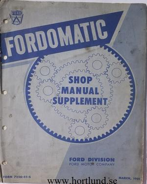 1951 Ford  Fordomatic Shop Manual supplement
