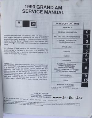 1990 Pontiac Grand Am Service Manual