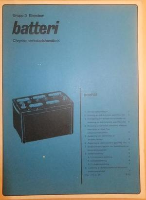 1968 Chrysler Verkstadshandbok batteri svensk original