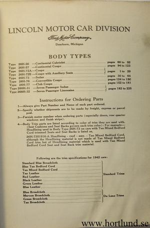 1942 Lincoln Body Parts List