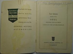 1958 Opel Olympia och Rekord Handbok