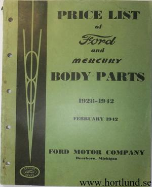 1928 - 1942 Ford and Mercury Price List of Body Parts