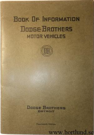 1922 Dodge Book of Information