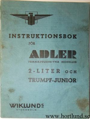 1939 Adler Instruktionsbok svensk