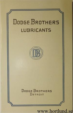 1921 Dodge Lubricants