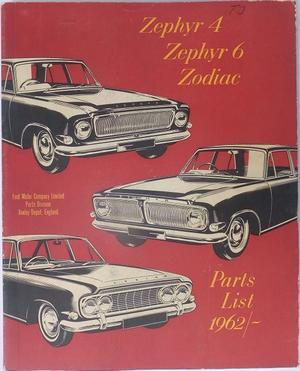 1963 Ford Zephyr & Zodiac Parts List