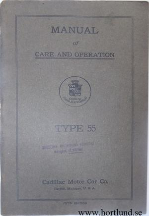 1917 Cadillac type 55 Manual of Care and Operation