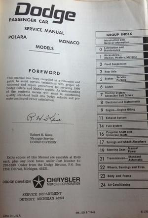 1966 Dodge Service Manual Polara & Monaco