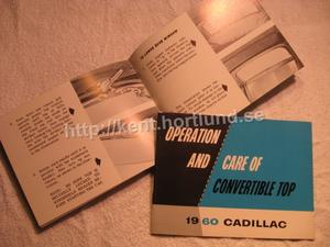 1960 Cadillac Convertible Operation and care of the convertible top First Edition