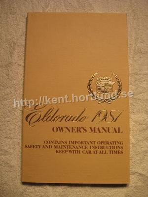 1981 Cadillac Eldorado Owners Manual