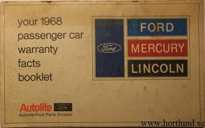 1968 Ford Mercury Lincoln Warranty Facts Booklet