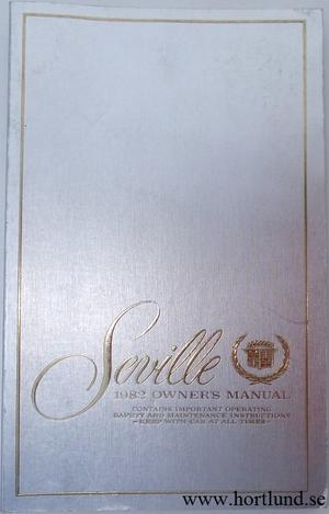 1982 Cadillac Seville Owners Manual