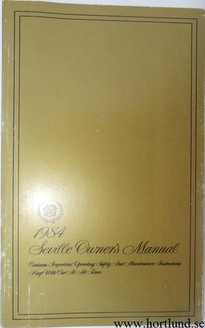 1984 Cadillac Seville Owners Manual