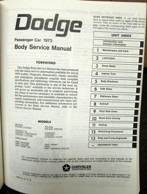 1973 Dodge Chassis och Body Service Manual alla modeller