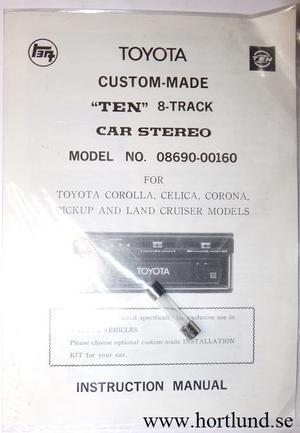 "1970-tal Toyota Custom-Made ""TEN"" 8-Track Car Stereo Instruction Manual"