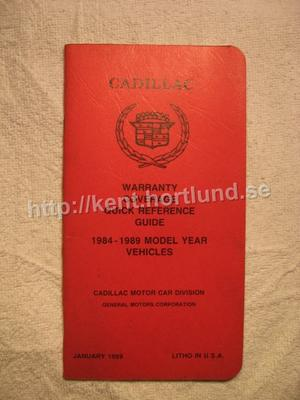1984-1989 Cadillac Warranty Coverage