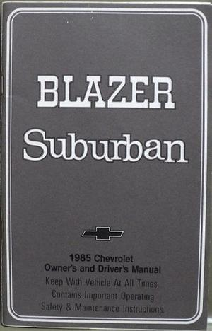1985 Chevrolet Blazer Suburban Owners Manual