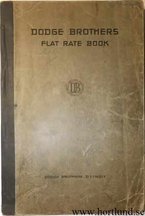 1921 Dodge Flat Rate Book