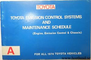 1974 Toyota Owners Service Manual alla modeller