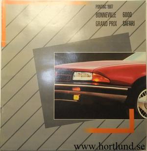 1987 Pontiac Bonneville, 6000, Grand Prix och Safari broschyr