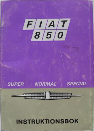 1969 Fiat 850 Super Normal Special instruktionsbok