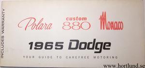 1965 Dodge Polara Custom 880 Monaco Operating Instructions