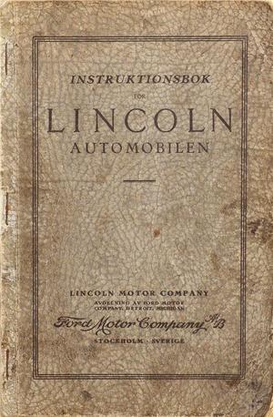 1926 Lincoln Instruktionsbok svensk