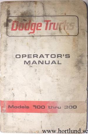 1965 Dodge Truck 100-300 Operator's Manual