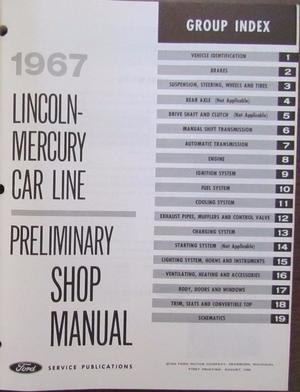 1967 Lincoln-Mercury Preliminary Shop Manual