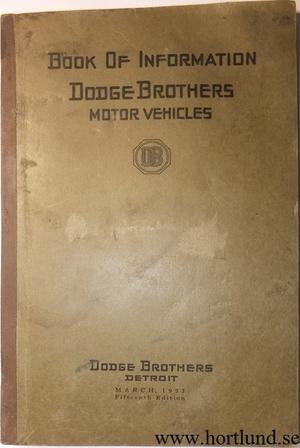 1922 Dodge Book of Information utg 2