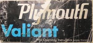 1966 Plymouth Valiant Operating Instructions 1st edition