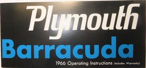 1966 Plymouth Barrcuda Operating Instructions
