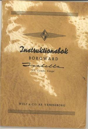 1958 Borgward Isabella Instruktionsbok svensk