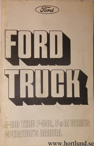 1975 Ford Truck 100-350 Operator's Manual
