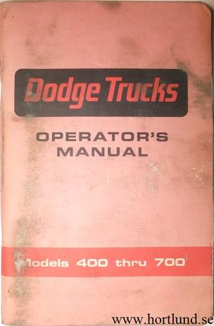 1966 Dodge Truck 400-700 Operator's Manual
