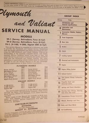 1963 Plymouth & Valiant Service Manual