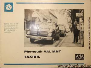 1967 Plymouth Valiant Taxibil supplement till Instruktionsbok svensk