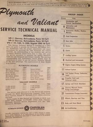 1964 Plymouth & Valiant Service Manual
