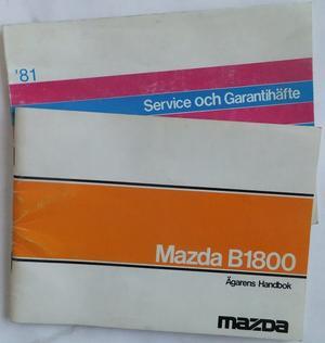 1981 Mazda B1800 Instruktionsbok