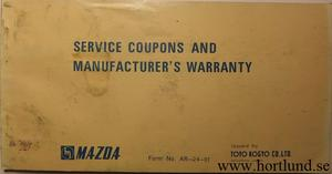 1973 Mazda Service Coupons and Manufacturer's Warranty
