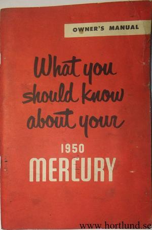 1950 Mercury Owners Manual original